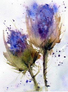 Blue Thistle Painting - Ann Duke Watercolor