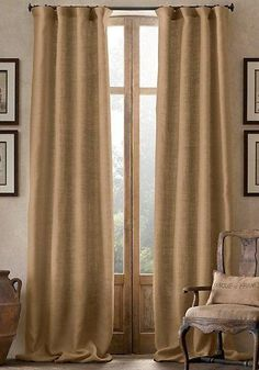 #2012 Burlap Curtain  WITH GROMMETS   YOU PAY 1/2 DOWN