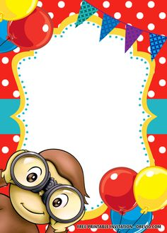 Hello everyone, does your child like to view a curious George invitations? I'm trying to offer you interesting thoughts for the George birthday event today. Free Birthday Invitation Templates, Boy Birthday Invitations, Templates Printable Free, Curious George Invitations, Monkey Invitations, Disney Invitations, Curious George Party, Curious George Birthday, Boy First Birthday