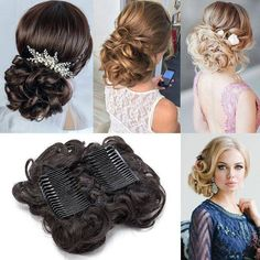 S-noilite LARGE Comb Clip In Curly Synthetic Hair Pieces Chignon Updo Cover Hairpiece Extension Hair Bun Curly Curly Hair Pieces, Curly Hair Styles, Chignon Updo Wedding, Bun Updo, Hair Ponytail, Mega Hair Tic Tac, Curly Bun Hairstyles, Loose Updo, Trending Hairstyles