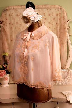 40s Blush Pink Bed Jacket, Odette Barsa Lace Jacket, 1940s 50s Nylon Lingerie, Peignoir, Boho chic Shabby Jackets, Vintage Lace Night Jacket