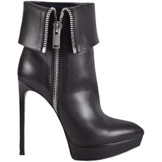Pre-owned Saint Laurent New Ysl 330231 Leather Janis Fold Over... ($543) ❤ liked on Polyvore featuring shoes and black