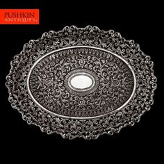ANTIQUE 19thC INDIAN CUTCH SOLID SILVER REPOUSSE SALVER TRAY c.1880