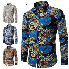Vintage Men Long Sleeve Shirt Ethnic Fan Printed Casual Slim Fit Turn Down Collar Tops Shirts H9