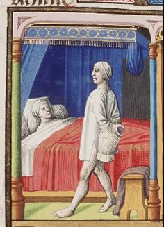 The Hague, MMW, 10 A 11 fol. 233v  Book 5, 5 Couple (Olympias and Nectanebus?) and conception (Alexander the Great?): woman lying in bed and man going to bed (his arm hidden or stuck in a piece of armour) (1st of 2)