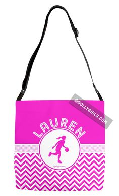 Golly Girls: Personalized Simple Pink Chevron Basketball Adjustable Strap Tote Bag only at gollygirls.com