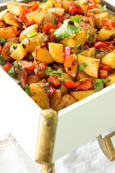 Spicy Middle Eastern Roasted Potatoes {Batata Harra}   ShesCookin.com