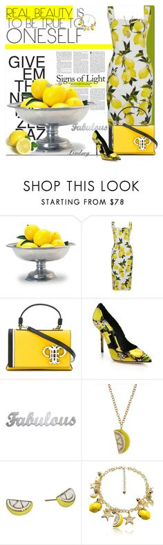 """Dolce & Gabbana Lemon Pencil Dress"" by lindsayd78 ❤ liked on Polyvore featuring Match, Dolce&Gabbana, Emilio Pucci and Kate Spade"
