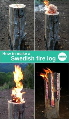 A Swedish fire log, also known as a Canadian candle, is a log that has been vertically cut and set on fire. What's great about the fire is that it's self-feeding. The log burns from the inside out and the fire can last for two to five hours depending on the size and material of the wood. Here's how to make one of these fancy fire logs!