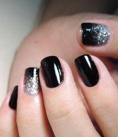Tutorial – unhas pretas com ombré glitter prata