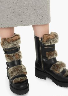 Fur leather boots
