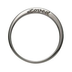 """Sterling Silver Loved Ring. It's engraved with """"loved"""" on one side and has two diamonds on the other."""