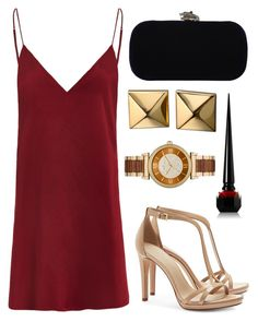 """""""Red dress"""" by crazy-chicky05 ❤ liked on Polyvore featuring мода, Tory Burch, House of Harlow 1960, Christian Louboutin, Michael Kors и Waterford"""