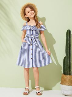To find out about the Girls Cold Shoulder Foldover Front Striped Dress at SHEIN, part of our latest Girls Dresses ready to shop online today! Kids Outfits Girls, Little Girl Dresses, Girl Outfits, Girls Dresses, Cute Outfits, Fashion Outfits, Houndstooth Dress, Striped Dress, Baby Dress