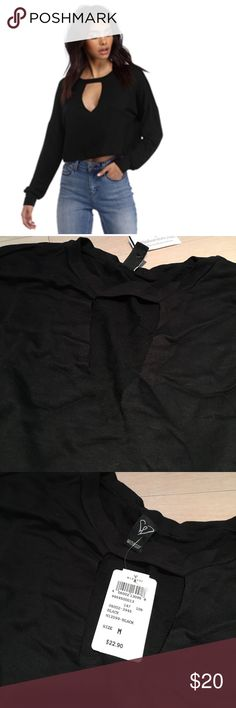 Black Key to my Heart Crop Top Brand new with tags. Cut out in the front. Long sleeves and crop top. WINDSOR Tops Crop Tops