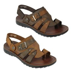 dbe28a92805 Mens Real Leather Sandals Coffee Brown Slip on Summer Beach Strapped  Slippers