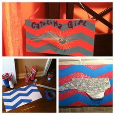 DIY North Carolina chevron state map craft