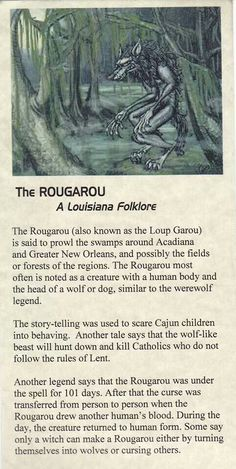 The Rougarou - (Roo ga roo) aka. Loup Garou, Louisiana folklore I know this thanks to Supernatural Myths & Monsters, Legends And Myths, Urban Legends, Dark Legends, Mythological Creatures, Magical Creatures, Gods And Goddesses, Book Of Shadows, Oeuvre D'art