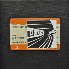 """Please Mind The Gap: On The Underground    Cut Out Train tickets on canvas  2011   5""""x 4""""    £90 including frame"""