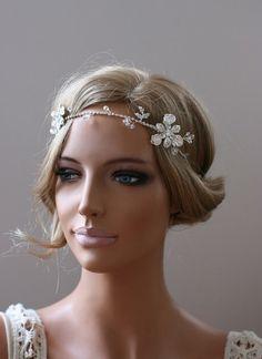 Grecian Headpiece, Bridal Halo, Rhinestones Headband, Freshwater Pearls Headband, Tiara, Bridal Headpiece -CLAIRE.