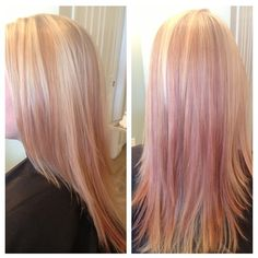 Rose gold, blonde and pink highlights