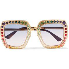 Oversized Crystal-embellished Square-frame Tortoiseshell Acetate Sunglasses - one size Gucci pYzQTv