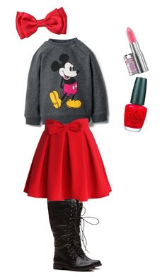"""""""Mickey Mouse"""" by sharkyswimgirl ❤ liked on Polyvore featuring MANGO, Chicwish and OPI"""