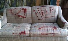 Pick up an old love seat cheap and make it look scary for your Halloween party guests. Asylum Halloween, Halloween House, Holidays Halloween, Spooky Halloween, Halloween Crafts, Halloween Party, Halloween Decorations, Halloween Ideas, Gore Aesthetic