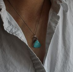 Sleeping Beauty turquoise on sterling silver. One of a kind, made by silversmith Bonnie Sedan.
