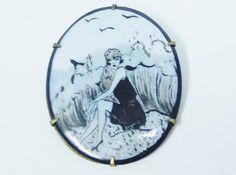 Art Deco Pin Brooch Pendant Bathing Beauty by SecondImpulse