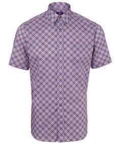 Blue and Red Owen Liberty Print Short Sleeve Shirt
