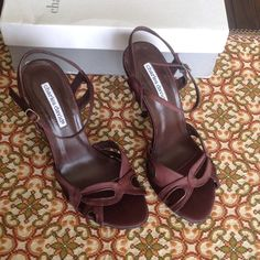 New Charles David Dark Brown Satin Heels Size 8 Lovely and chic open toe sling-back style. Satin upper. Adjustable ankle strap. Lightly padded footbed. Leather sole. Made is Spain. Color: Dark Brown Satin Size: 8 Charles David Shoes Heels