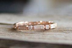 Baguette & Round Diamond Milgrain Bezel Eternity Ring in 14K Rose Gold