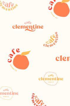cafe clementine bright summer fun logo and branding design inspiration orange pink yellow red neutral desert by Rachael Loerwald Great Logo Design, Web Design, Graphic Design Branding, Identity Design, Graphic Design Inspiration, Logo Branding, Typography Design, Graphic Designers, Brand Logo Design