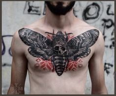 Death's-head Hawkmoth - People find this insect interesting because of the skull shape between its wings. #TattooModels #tattoo