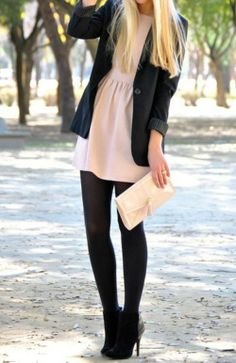 Pink dress, black tights and blazer