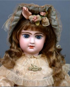 "Rare 19"" Jumeau Bebe Incised 'M' With Original Bee Mark Jumeau Shoes And Wig"
