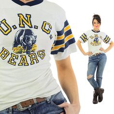 Football jersey Vintage 1970s UNC Bears Athletic shirt White graphic tshirt Retro Graphic sports tee Small