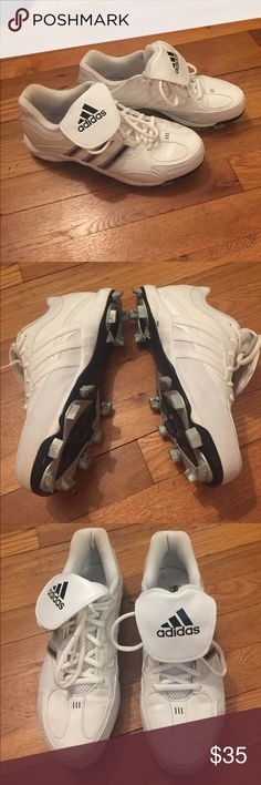 Adidas softball cleats Worn once. I just don't play anymore! :( size 9.5 but I think they could fit a 9. Clean, perfect condition! Adidas Shoes