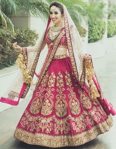 """dark pink embroidered wedding punjabi lehenga"" Posted by Needhi Dhoker (quote) via looksgud.in"