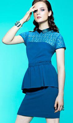 #MyImpulseIs Color! True blue. #w118 #walterbaker #dress #peplum #macys BUY NOW!