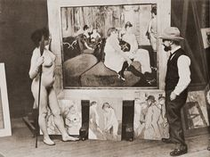 Toulouse-Lautrec with his model and paintings ,1900.