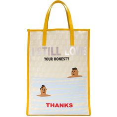 Corto Moltedo I Still Love Your Honesty shopper (3399820 PYG) ❤ liked on Polyvore featuring bags, handbags, tote bags, white tote, white purse, shopper purse, white tote bag and white handbag