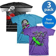 Nyjah Huston Sk8Lyfe Pro Skateboarder Boys Graphic Tee, 3 Pack Your Choice Value Bundles