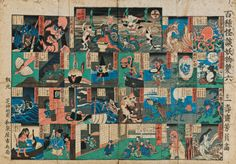 """A Japanese board game called """"100 Monster Stories Sugoroku"""" with various demons and goblins drawn by Utagawa Yoshikazu from 1858."""