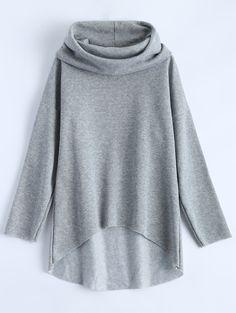 Women Sweatshirt Blouse T Shirt High Low Hoodie Loose Long Sleeve Casual Hoodie Sweatshirts, Hoody, Hoodies For Sale, Mode Hijab, Sammy Dress, Grey Hoodie, Clothes For Women, High Low, Trendy Fashion