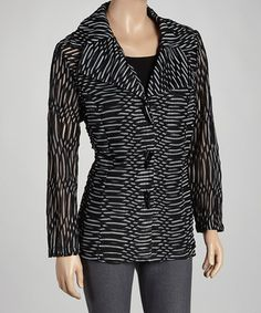 Black Abstract Jacket & Tank - Women & Plus