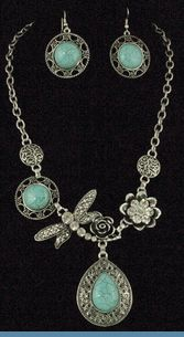 Southwest Silvertone Dragonfly Necklace with Earrings Accented with Aqua Blue Beads & Rhinestones $32  www.whimzaccessories.com