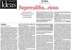 Supercalicontentious. Who coined the longest nonsense word in America? It's a touchy subject. (Apr. 22, 2012) http://b.globe.com/supercali