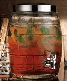Glass Barrel Beverage Dispenser with Spigot